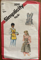 Simplicity 0091 vintage 1960s apron sewing pattern