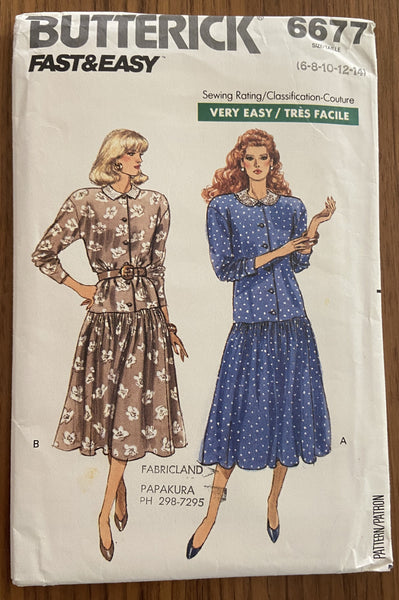 Butterick 6677 vintage 1980s dress sewing pattern