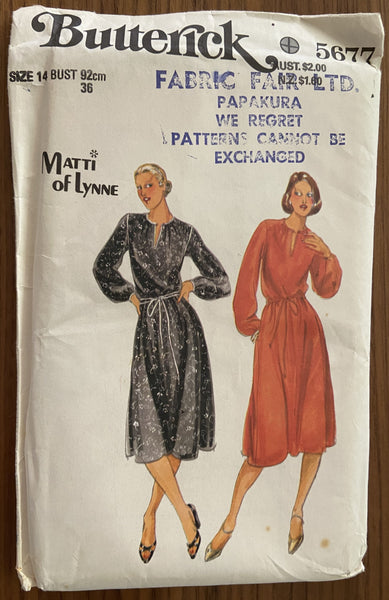 Butterick 5677 vintage 1970s Matti of Lynne dress pattern