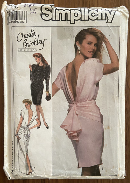 Simplicity 8944 vintage 1980s Christie Brinkley collection dress pattern