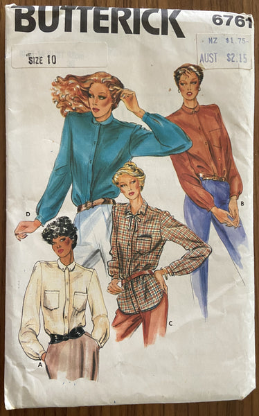 Butterick 6761 vintage 1980s blouse sewing pattern bust 32 inches