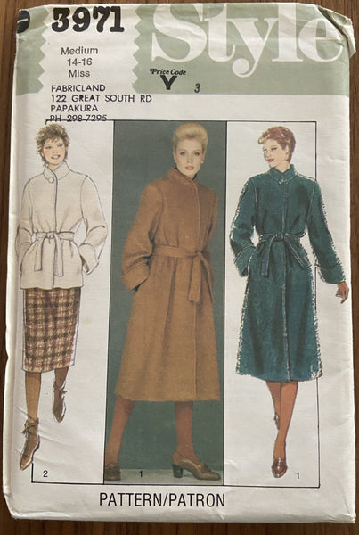 Style 3971 vintage 1980s coat and jacket  pattern