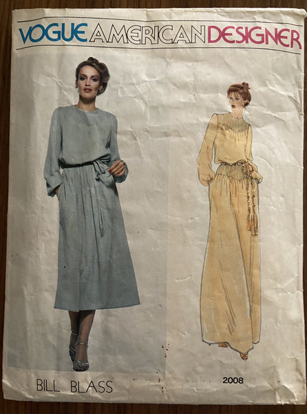Vogue 2008 vintage 1970s Vogue American Designer Bill Blass dress pattern in two lengths
