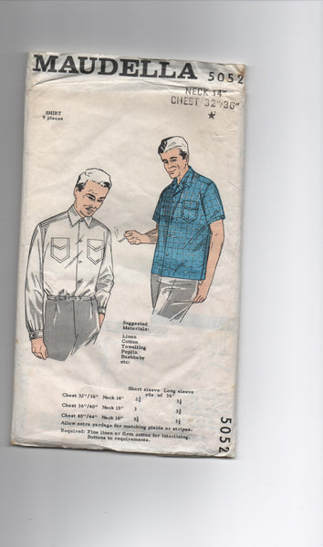 Maudella 5052 vintage 1950s men's shirt pattern