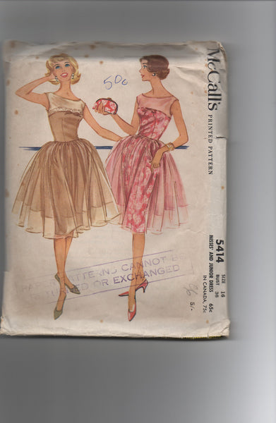McCall's 5414 vintage 1960s dress sewing pattern