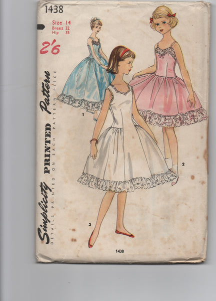 Simplicity 1436 vintage 1950s girl's slip petticoat pattern
