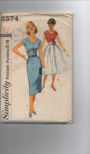Simplicity 2574 vintage 1950s sewing pattern