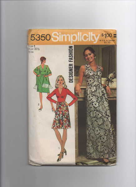 Simplicity 5350 vintage 1970s dress and shawl pattern