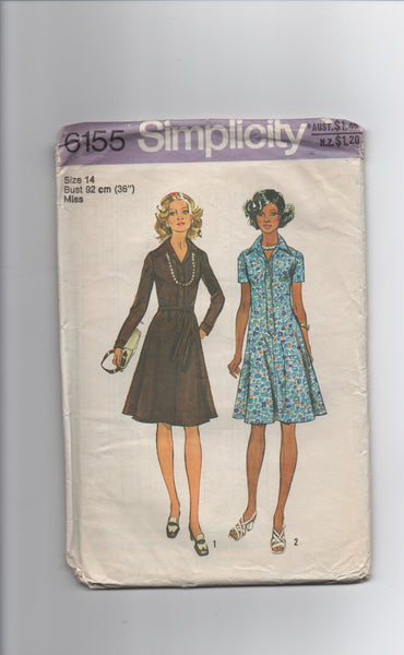 Simplicity 6155 vintage 1970s dress sewing pattern