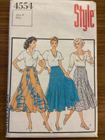 Style 4554 vintage 1980s 10 panel flared skirt pattern