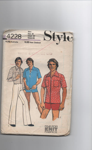 Style 4228 vintage 1970s men's shirt, shorts and trousers pattern