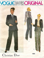 Vogue 1985. Vogue Paris original. Christian Dior 1970s pants, shirt and jacket pattern