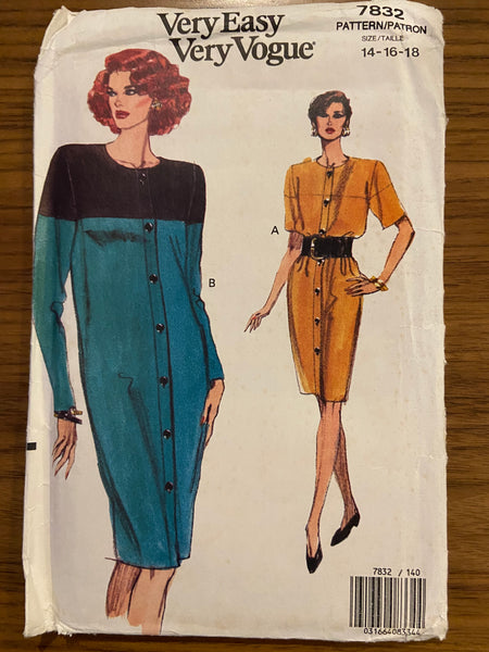 Vogue 7832 vintage 1990s dress sewing pattern