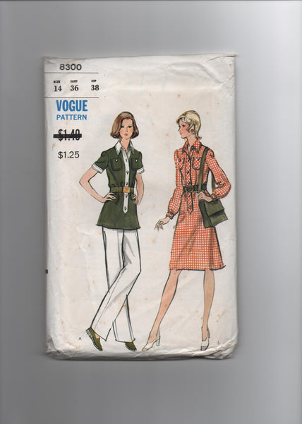 Vogue 8300 vintage 1970s dress, tunic and pants pattern