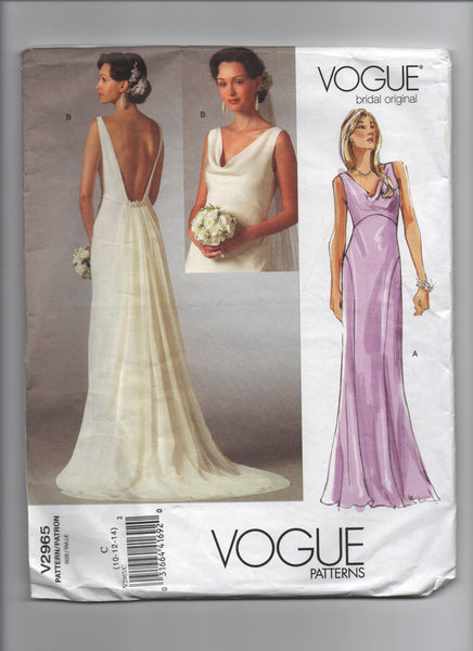 Vogue v2965 Vogue bridal original wedding dress pattern