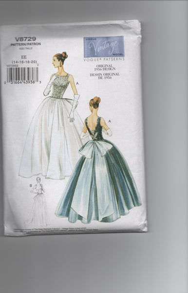Vogue v8729 reissued vintage 1956 sewing pattern