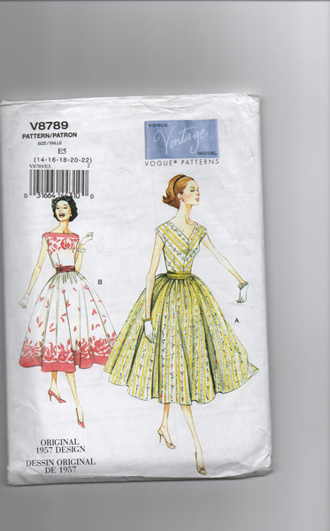 Vogue v8789. Reissued vintage 1957 sewing pattern