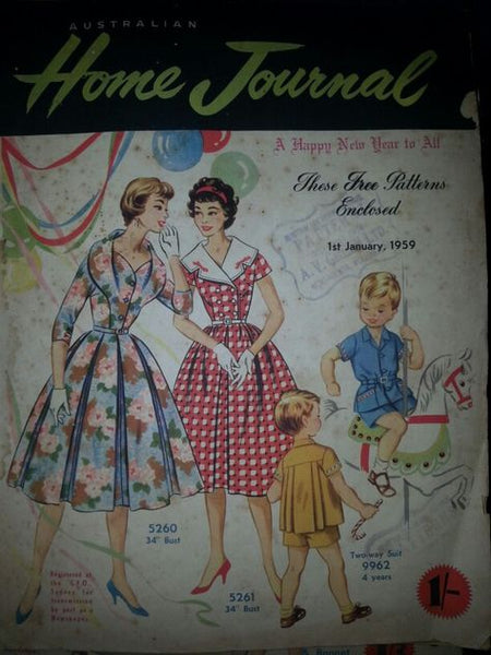 Australian home journal January 1959 with three sewing pattern, unused, factory folded. Two dresses and a boy's suit
