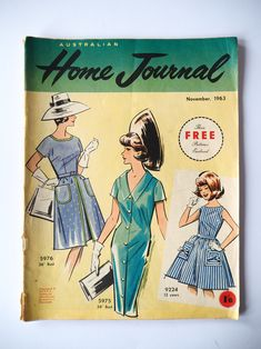 Australian home journal November 1963 with three sewing patterns, unused, factory folded two dresses and a girl's dress