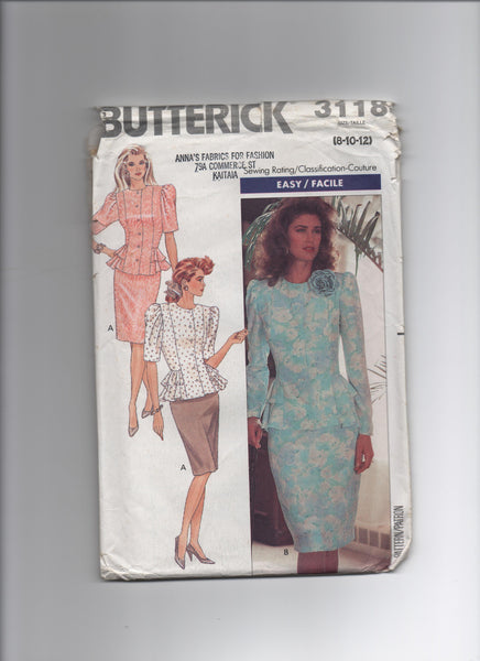 Butterick 3118 Vintage 1980s skirt and peplum top sewing pattern