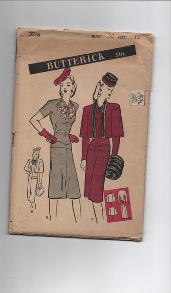 Butterick 3216 vintage 1940s skirt, top and cape sewing pattern