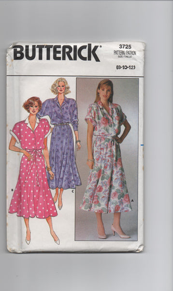 Butterick 3725 vintage 1980s dress pattern