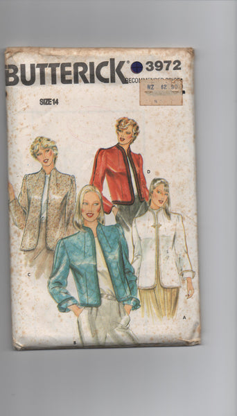 Butterick 3972 vintage 1980s jacket pattern