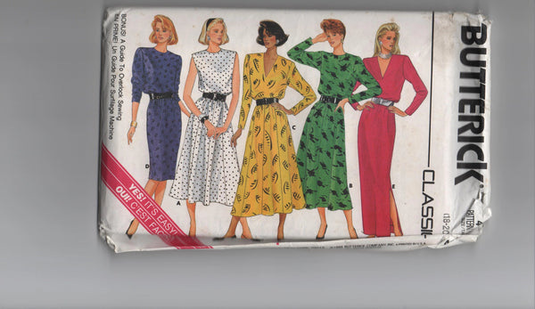 Butterick 4102 vintage 1980s dress sewing pattern