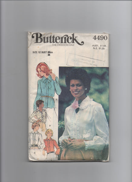 Butterick 4490 vintage 1970s blouse sewing pattern