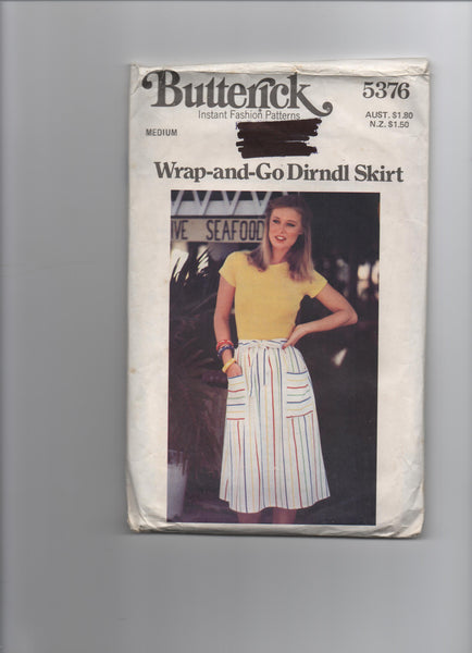 Butterick 5376 vintage 1970s wrap skirt pattern
