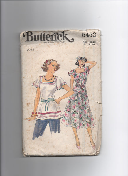 Butterick 5452 vintage 1970s top and dress sewing pattern