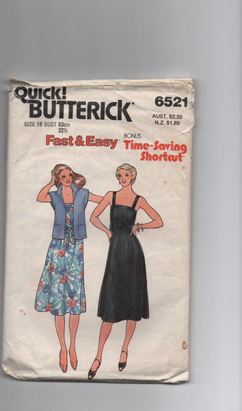 Butterick 6521 vintage 1980s dress and jacket sewing pattern