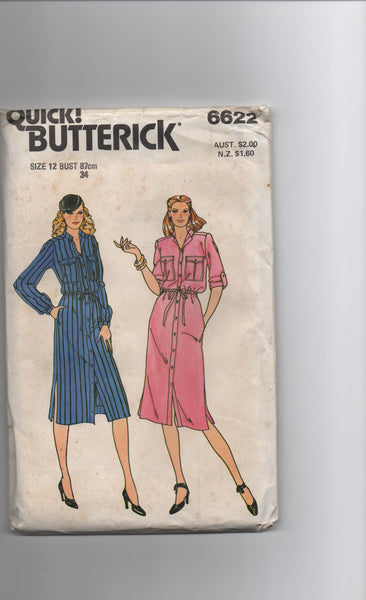 Butterick 6622 vintage 1970s dress sewing pattern
