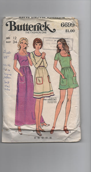 Butterick 6699 vintage 1970s  dress pattern