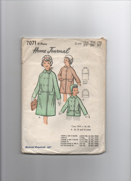 Home journal vintage circa 1960s girl's coat pattern