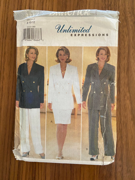 Butterick33142 vintage 1990s unlimited expressions jacket, pants and skirt sewing pattern