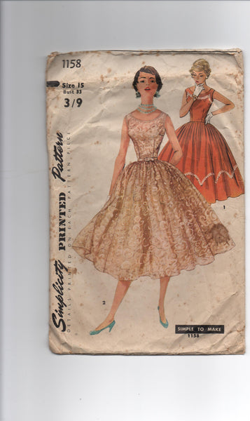 Simplicity 1158 vintage 1950s dress sewing pattern