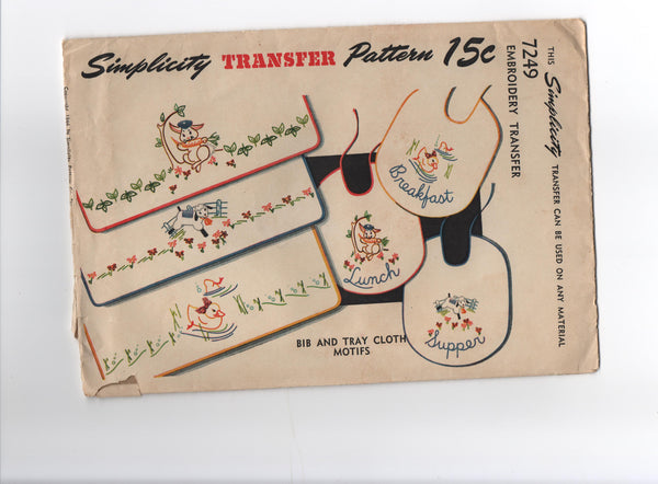 Simplicity 7249 vintage 1946 baby bib and tray cloth motifs embroidery transfer pattern