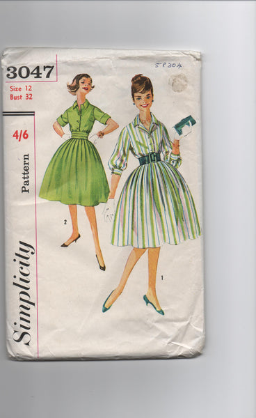 Simplicity 3047 vintage 1950s dress sewing pattern