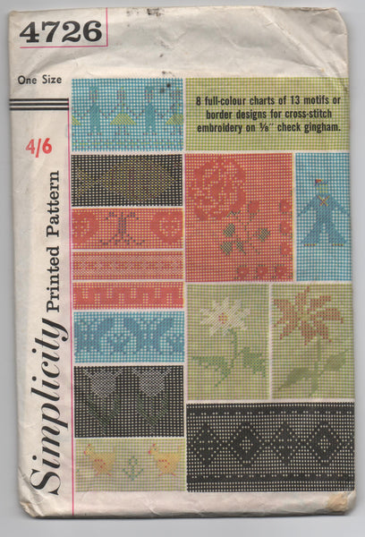 Simplicity 4726 vintage 1960s embroidery charts for cross stitch on gingham
