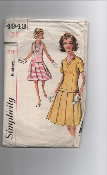 Simplicity 4943 vintage 1960s dress sewing pattern
