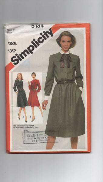 Simplicity 5134 vintage 1980s dress sewing pattern