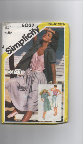 Simplicity vintage 1980s skirt, camisole and shirt pattern