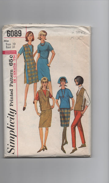 Simplicity 6089 vintage 1960s dress, blouse and jumper pattern