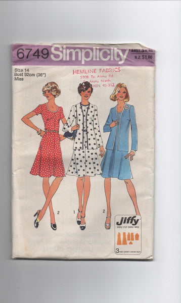 Simplicity 6749 vintage 1970s dress and cardigan pattern