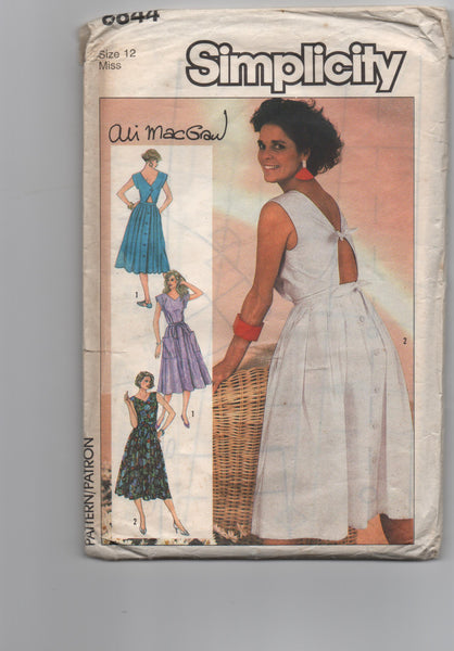 Simplicity 6844 vintage 1980s Ali McGraw dress sewing pattern