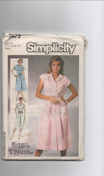 Simplicity 7475 vintage 1980s dress sewing pattern