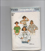 Simplicity vintage 1970s peasant blouse sewing pattern