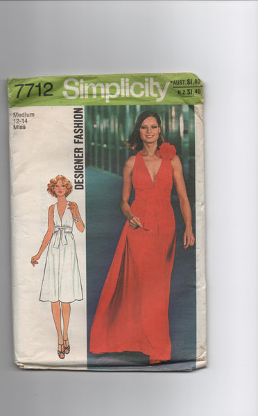 Simplicity 7712 vintage 1970s dress sewing pattern