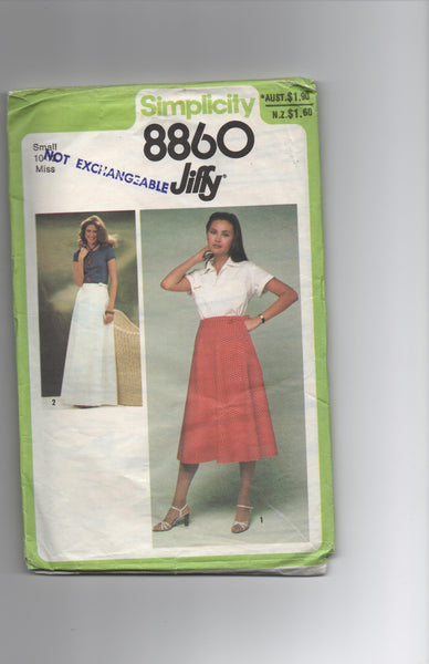 Simplicity 8860 vintage 1970s wrap skirt pattern
